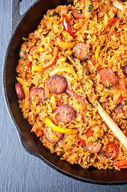 smoked sausage and red rice skillet thecozya