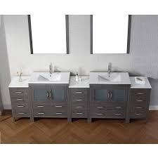 Bathroom Vanity Brooklyn Virtu Usa 126 Dior Double Sink Vanity Zebra Grey With Ceramic