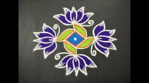 simple lotus flower rangoli design with beaut