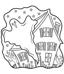 Haunted House And Ghost Coloring Page Coloring For Kids 2019