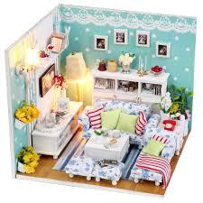 dusting wood furniture. diy wooden handmade dolls house miniature doll kit cute room u0026 furniture inside with dust cover light dusting wood