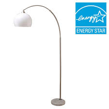 ore international 76 in h modern silver arc floor lamp with white in exciting marble
