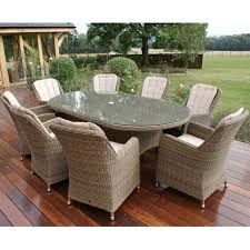 maze rattan winchester 8 seat oval dining set with venice chairs