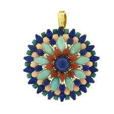 turquoise c diamond lapis lazuli 18k yellow gold brooch pin pendant brilliance jewels vintage fine estate jewelry