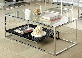 black and chrome coffee table set