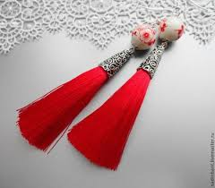 <b>Серьги</b> кисточки Красные с фарфоровыми бусинами | Brincos ...