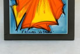 french vallauris ceramic le clown wall