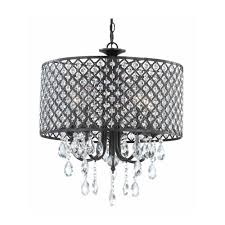 crystal chandelier pendant light with crystal beaded drum shade