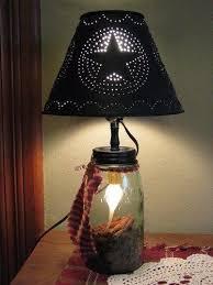 ball jar lighting. Mason Ball Jar Lamp With Metal Shade Lighting G