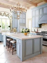 bule gray inspired kitchen cabinet paint color