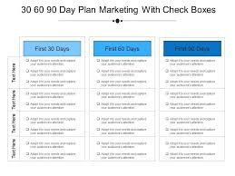 30 60 90 Day Plan Marketing With Check Boxes Example Of Ppt