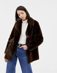 faux fur coat in chocolate trench coat in check warehouse