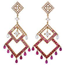 diamond ruby pink sapphire chandelier earrings