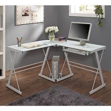 Rolling Computer Desk, Glass and Silver-Colored Metal - Walmart.com