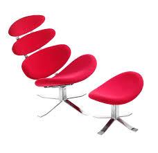 zuo modern petal lounge chair  ottoman red  disc  modern