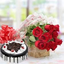bo of red roses and eggless black forest cake