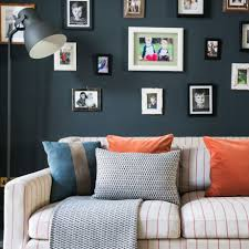 Navy Blue Living Room Navy Blue Living Room With Photo Wall And Floor Lamp Ideal Home