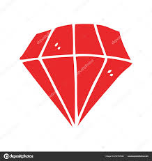 Plochý Barevný Styl Kreslených Tetování Diamant Stock Vektor