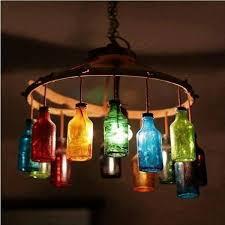 repurposed glass bottle chandelier