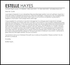 managment cover letter records manager cover letter sample cover letter templates examples