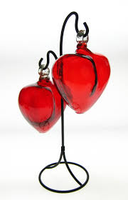 mexican blown glass hearts two red hearts on rack made in mexico blown glass hearts red mexican glass hearts two hearts joined as one display rack