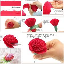 Making Flower Using Crepe Paper Diy Beautiful Crepe Paper Carnation Crafts Pinterest Paper