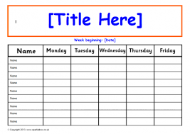 Week Chart Editable 1 Week Daily Class Record Chart Sb9315 Sparklebox