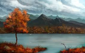 900712 autumn blue skies lakes landscapes mountains paintings