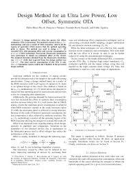 Ota Circuit Design Pdf Design Method For An Ultra Low Power Low Offset