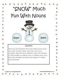 Snow Much Fun With Nouns Regular Irregular Nouns Activity