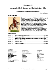 Canterbury Tales Character Chart Canterbury Tales Study Guide Zpnxz5o9ye4v