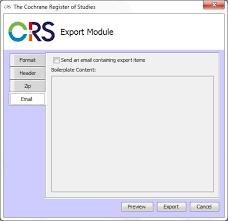 Cochrane Register of Studies - Help Portal - Export