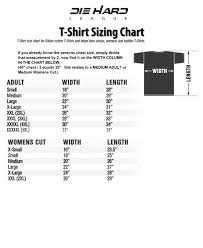 Nfl Size Chart T Shirt Size Chart Nfl Apparel Nfl Shirts Die Hard League