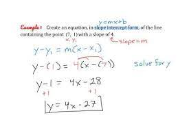 creating equations using point slope
