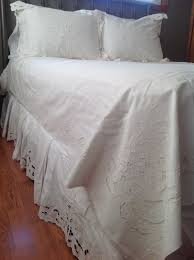cutwork rose embroidered duvet cover and box pleated bedskirt is a beautiful and elegant decor