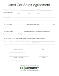 Purchase Agreement Vehicle 134 Printable Vehicle Sale Agreement Forms And Templates Fillable