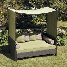 Exterior:Spacious Outdoor Lounge Bed Design With Green Canopy And Black  Wicker Floating Bed Ideas