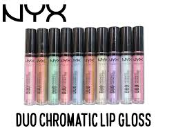 nyx duo chromatic lip gloss review and swatches all 10 shades