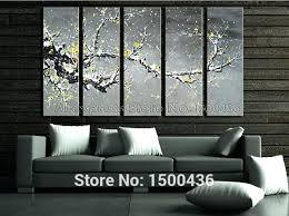 gray and yellow wall art hand painted abstract oil yellow flowers paintings on canvas 5 piece gray and yellow wall art