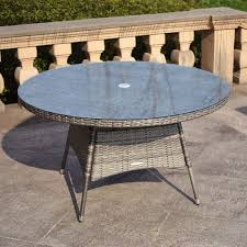 charles bentley napoli large round rattan dining table garden furniture grey