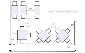 restaurant table spacing drawing plan view distance from wall aisle sizes distance from
