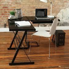 captivating black corner desk sliding keyboard trey and cpu stand thick tempered safety glass top sturdy steel frame in black finish black glass top corner