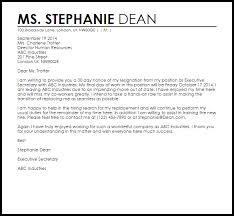 Resignation Template Uk Resignation Letter Example With 30 Day Notice Letter