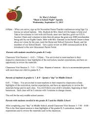 Saint Mary's School - News & Announcements: Agenda For Back To ...