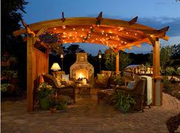 gazebo lighting ideas. Traditional Garden Patio With Grill Gazebo Ideas And Fireplace Lights Fixtures Lighting