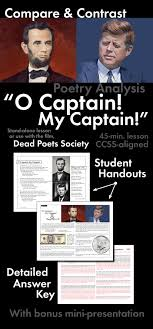 o captain my captain walt whitman compare contrast poetry  o captain my captain walt whitman compare contrast poetry ccss aligned