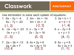 add subtract use elimination to solve each system of equations