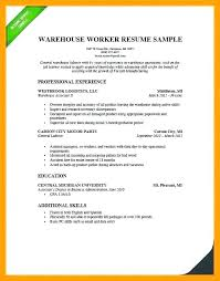 Resume Examples For Warehouse Worker Ellseefatih Com