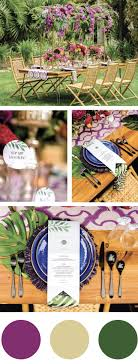BOLD FUSCHIA AND GREEN TROPICAL WEDDING COLORS. Tropical or destination  wedding themes and ideas for table and stationery.