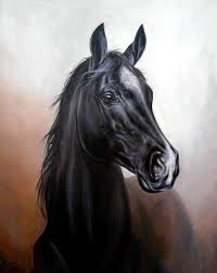 horse painting black horse by zoltan simon